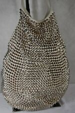 TOM BINNS LARGE STUDDED WOMEN WHITE SHOULDER/HAND BAG MADE IN U.S.A