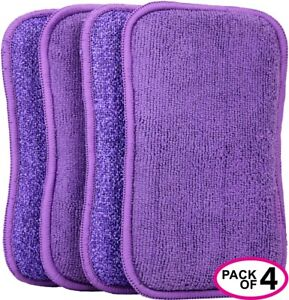 Greenco Microfiber Scrub Sponges for Cleaning Kitchen Bathroom 4 Pack Large 8x5""