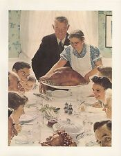 """1977 VINTAGE """"FREEDOM FROM FEAR"""" by NORMAN ROCKWELL MINI POSTER COLOR Lithograph"""