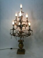 VTG Hollywood Regency Italian Tole Gilt Tree Shaped Crystal Prisms Table Lamp