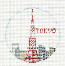 *NEW* ~ TOKYO, JAPAN Tower handpainted Needlepoint Canvas by Kathy Schenkel RD.