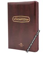 BIBLIA DE REFERENCIA THOMPSON CON CIERRE INDICE SEMI PIEL COLOR CAOBA  RVR 1960
