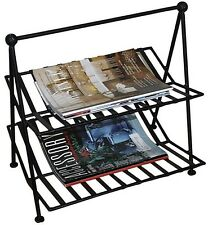 Black Wrought Iron Magazine Rack Home Office Groceries Newspaper Stand