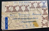 1945 Calcutta India Airmail Censored Cover to San Jose CA USA