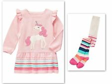 NWT Gymboree ENCHANTED WINTER Pink UNICORN Sweater Dress & Striped Tights 6-12