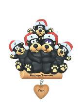 Personalised Christmas Tree Ornament/Decoration Black Bear Family 2-6