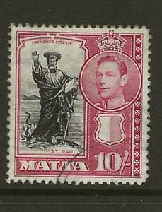 1938-43 Malta KGVI SG231 10s Black and Carmine High Value Fine Used Cat £19