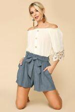Waist Tie Paperbag Shorts - Denim Blue