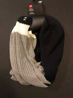 Under Armour Womens Favorite Waffle Knit Scarf One Size Black Grey White MSRP$40