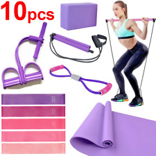 Yoga Exercise 10 pcs Set Gym Mat Blocks Equipment Home Fitness Resistance Band