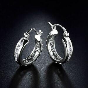 18K White Gold diamond Hoop Earrings 379