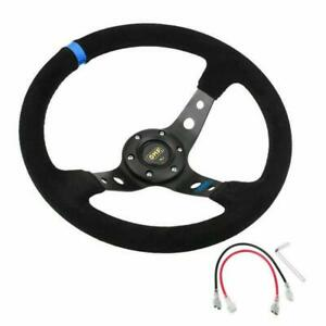 350mm  6 Bolt Suede Leather JDM Sport Racing Drifting Steering Wheel in