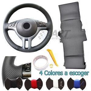 Funda de volante a medida para Bmw E46 Coupé cuero negro liso + perforado