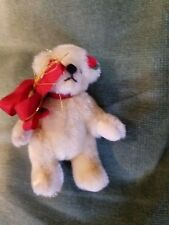 "Mini Bear with Rose in ear precious 2.75"" tall Fully Jointed Quality Suade Paws"