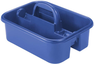 """Akro-Mils Plastic Tote Tool Cleaning Caddy with Handle 18-3/8""""x13-7/8""""x9"""" Blue"""