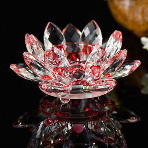 Red Crystal Glass Lotus Flower Candle Tea Light Holder Candle stick Decor Gift