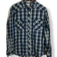 Mens Fossil blue gray plaid snap front shirt western style shirt Vintage fit XL