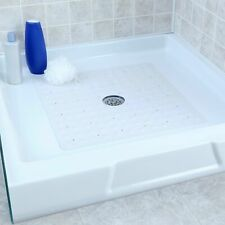 Large Non-Slip Rubber Shower Mat with Microban: Square Stall Mat, White (New)