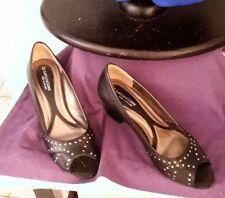 Block Open Toe Medium (B, M) Solid Heels for Women