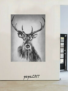 Framed Canvas print stag deer moose scandi Street pop Art  painting canada