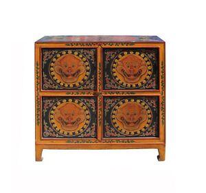 Chinese Tibetan Orange Black Foo Dog Graphic Credenza Storage Cabinet cs4135