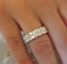 4.50ct White Round and Baguette Diamond Wedding Band Ring 14k White Gold Over