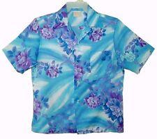 Sz M Vin 1970's Hawaiian Aloha Shirt ?? FASHIONS OF HAWAII Tropical Floral Blue
