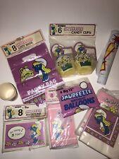 RARE Vtg Smurfs SMURFETTE BIRTHDAY PARTY Supplies Favors Invitations Napkins LOT