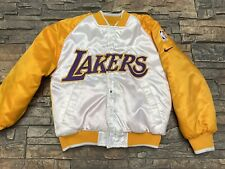 Vintage LA Lakers Nike Satin Bomber Jacket Snap Front Quilt Lining YOUTH S 8/10