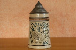 Alter antiker Bierkrug Zinndeckel Relief Bierseidel Jugendstil 0,5l 112 Schwan