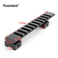 10 Slots 11mm to 20mm Picatinny Weaver Rail Base 125mm Mount for Rifle Scope