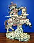 "LARGE  21"" BONE & HORN  STATUE OF SAMURAI ON HORSE CHINESE JAPANESE SCRIMSHAW"