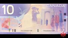 2004 Bank Of Canada 10$ Low Serial Number FES0000139 - AU/UNC -