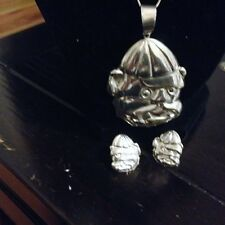 Vintage Sterling Silver Bulldog 18Inch  Necklace With Earrings  20.8 g.