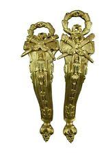 French Antique Ormolu Bronze Curtain Rod Holders Tie Backs Rod Brackets