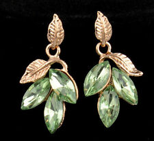 Beauty Malachite Green Rhinestone Punk Plated Gold Leaves Pierce Earring Stud
