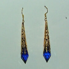DEEP BLUE VICTORIAN STYLE EARRINGS GOLD PLATED FILIGREE ACRYLIC 7CM hook