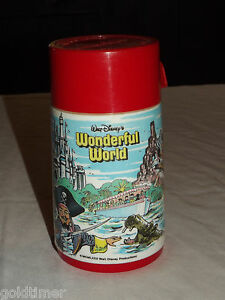 VINTAGE 1980 WALT DISNEY ALADDIN WONDERFUL WORLD PIRATE TRAIN THERMOS
