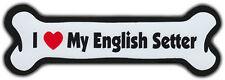 Dog Bone Magnet: I Love My English Setter | Dogs Doggy Puppy | Car Automobile