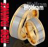 2 Partner Ringe Tungsten GOLD Plattiert Trauringe Gravur Gratis Wolfram * TW19