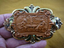 CL77-15) Colonial couple man woman burnt orange picture CAMEO Pin Pendant brooch