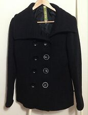 Soia & Kyo Double Breasted Wool Pea Coat Women's Size L Made in Canada Jacket