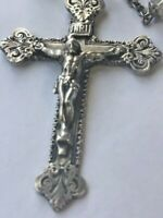 Antique Sterling Silver Crystal Cross Crucifix Rosary Signed Unusual Shape Bead