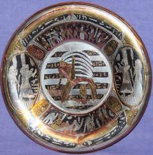 Vintage Egyptian motive hand made metal Pharaoh wall hanging plate