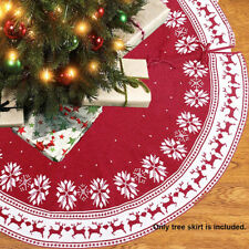 122cm Red Christmas Tree Skirt Round Ornaments Xmas Party Home Decoration