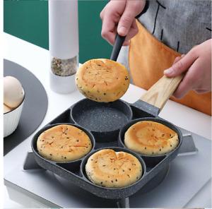 4 Hole Omelet Pan for Burger Egg Ham Pancake Maker Wooden Handle Frying Grill UK