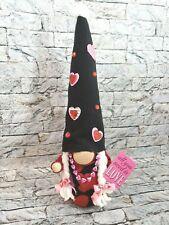 Gnome Love Heart Bling Girl Tomte Scandinavian Plush Gift handmade