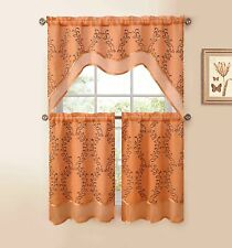 3-Pc Kitchen Window Curtain Set: Two-Layer Sheer, Vine Embroidery