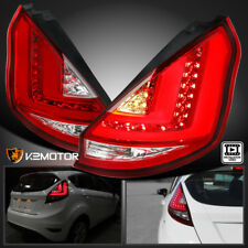 2011-2013 Ford Fiesta Hatchback Red/Clear LED Tube Tail Lights Left+Right