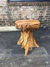 Solid Teak Root Natural Freeform End Side Accent Table Stool Unique Handcrafted